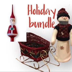 bundle: snowman and Santa tree toppers